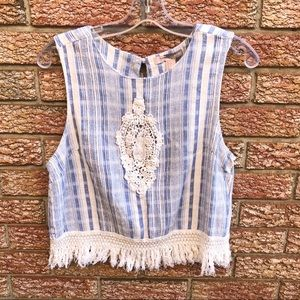 Blue & White Fringe Crochet Crop Top